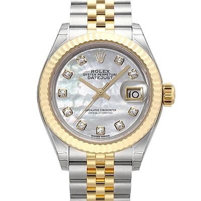 ROLEX 勞力士Datejust 279173蠔式半金10顆鑽日誌型腕錶-珍珠貝/28m