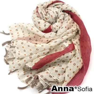 AnnaSofia-菱格十點滾紅邊-流蘇墬披肩圍巾
