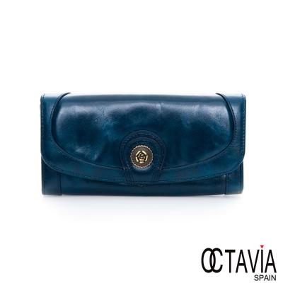 OCTAVIA 8 真皮-玫瑰扣 二折壓扣油蠟牛皮長夾- 自由藍