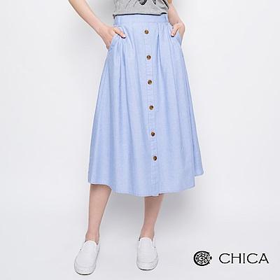 CHICA 徜徉春日馬卡龍色排釦設計中長裙(2色)