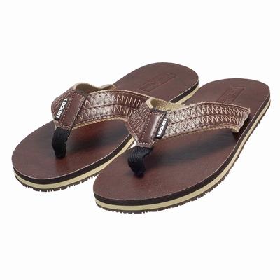 LocKen 獨特設計民族風鋸齒紋人字夾腳拖涼鞋(咖啡色)