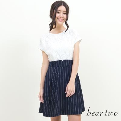 beartwo-氣質款蕾絲布花拼接橫紋洋裝-藍色