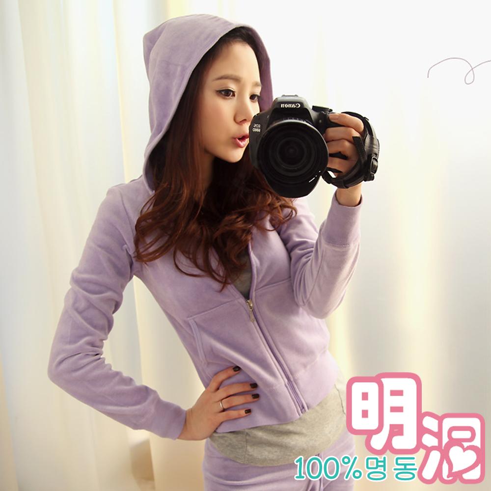 純色素面棉質運動套裝 (共六色)-100%明洞