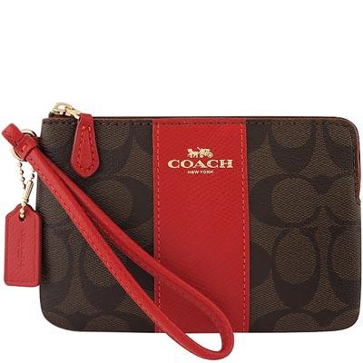 COACH-紅色馬車大C-PVC手拿包