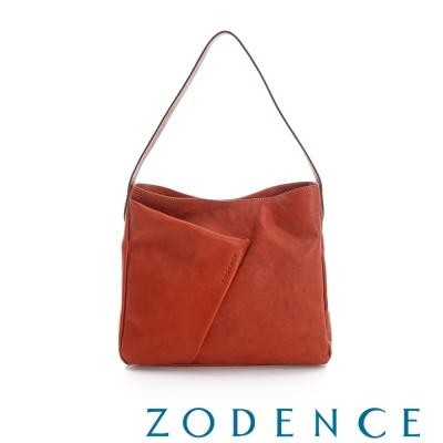 ZODENCE-義大利質鞣革系列不對稱柔軟拉鍊肩背包-大-橘紅
