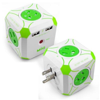 MIG-明家-Mini魔方-3孔四插-雙USB埠