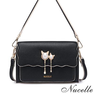 NUCELLE 輕甜貓飾造型兩用小方包 氣質黑