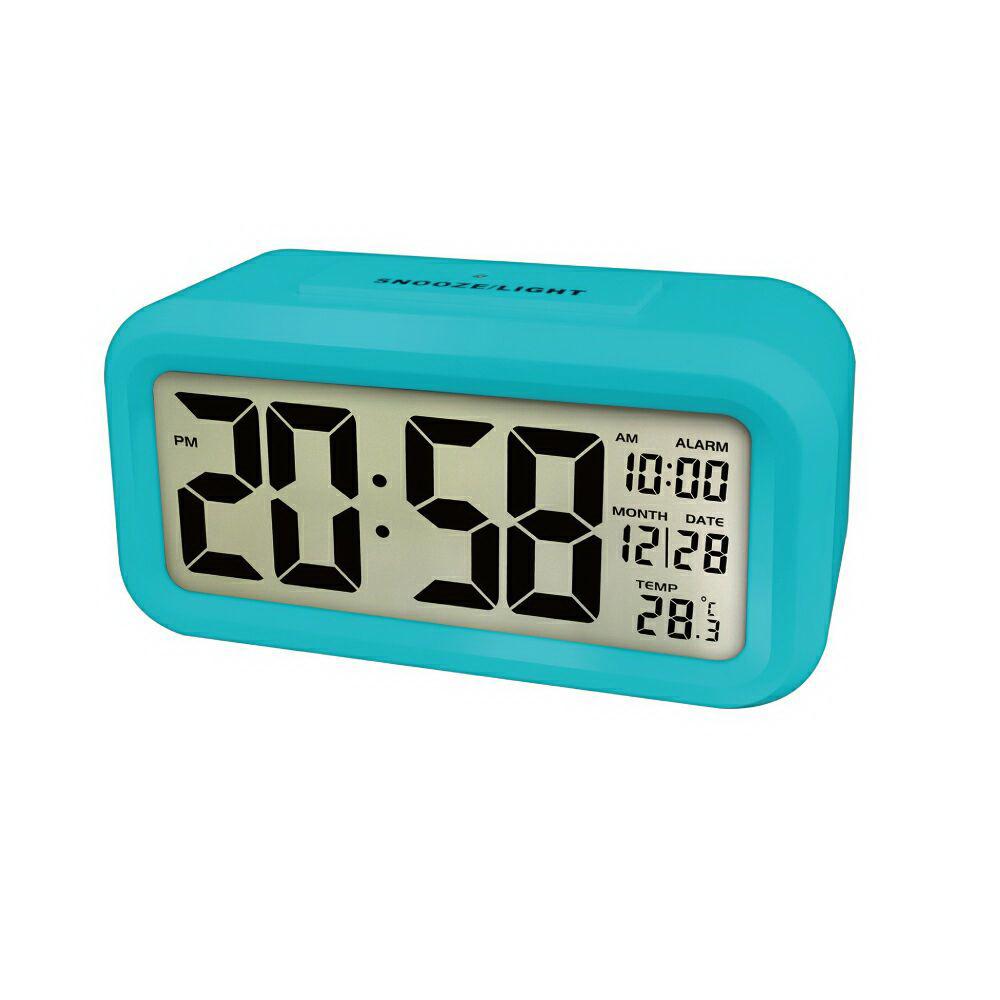 NAKAY 中型數字光控電子鐘/鬧鐘(TD-331)-藍色(夜間自動背光)