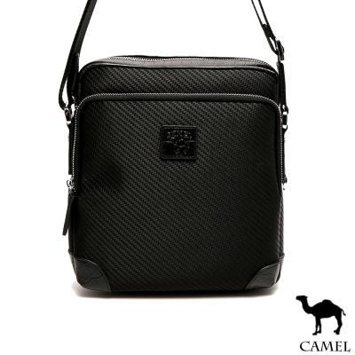 CAMEL - 經典品味配牛皮荔枝紋休閒直式側背包