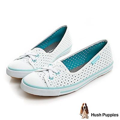 Hush Puppies 涼感沖孔咖啡紗皮質娃娃鞋-白/湖綠