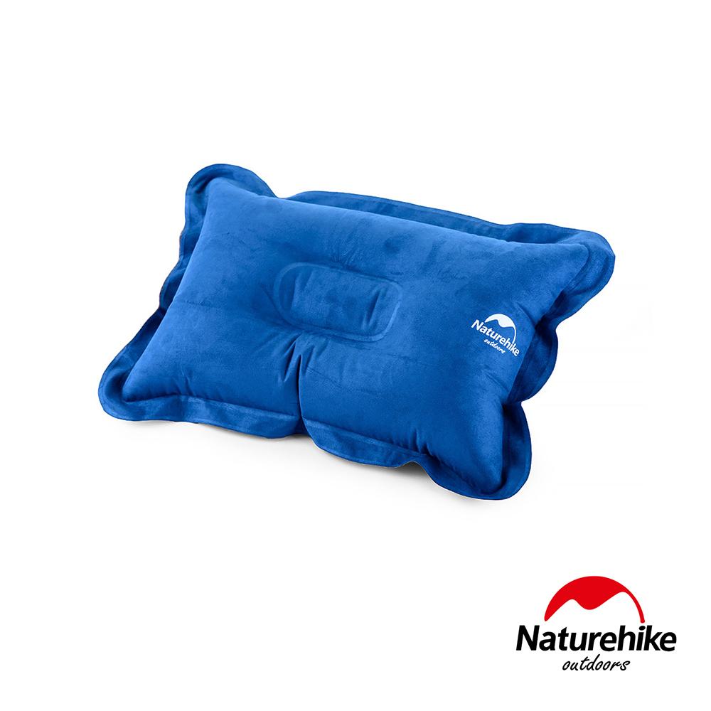 Naturehike 輕量便攜折疊式麂皮絨充氣枕 藍色-急