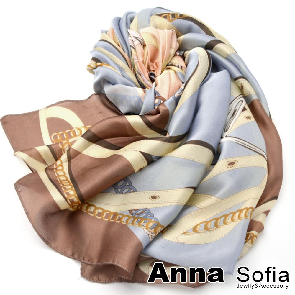 【滿額再75折】AnnaSofia 圈轉革鏈圖印 亮緞面仿絲披肩絲巾圍巾(藍咖系)