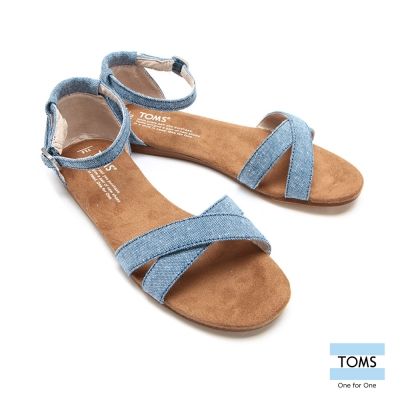 TOMS 繫踝丹寧平底涼鞋-孩童款(藍)