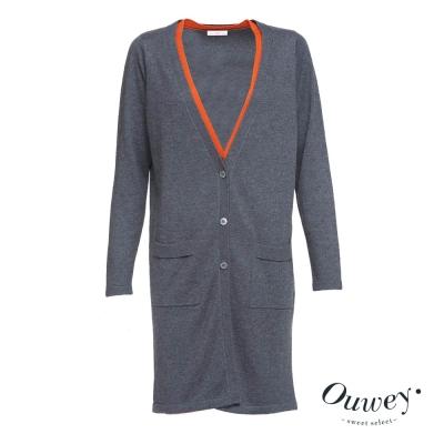 OUWEY歐薇-雙層門襟長版針織外套-灰