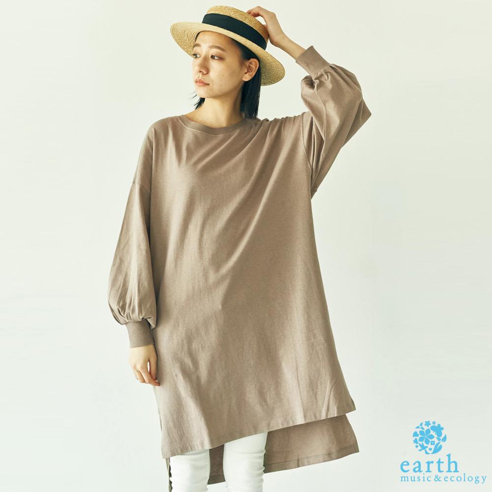 earth music 花苞袖前短後長素面T恤/洋裝