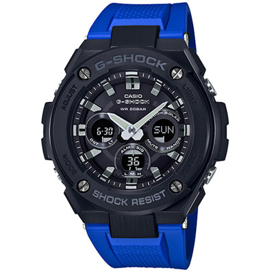 G-SHOCK G-STEEL分層防護構造運動腕錶(GST-S300G-2A1)黑x藍