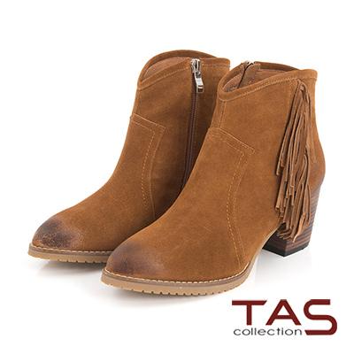 TAS 流蘇擦色麂皮高跟短靴-復古棕