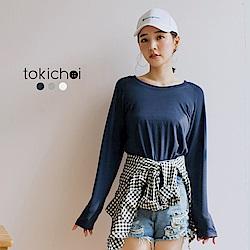 東京著衣 多色寬袖素色長T-S.M(共三色)