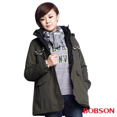 BOBSON 女款珠飾軍風外套(綠41)