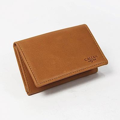 CALTAN-真皮 牛皮 男女用 名片夾 簡約橫式 名片 卡片夾-1801ht