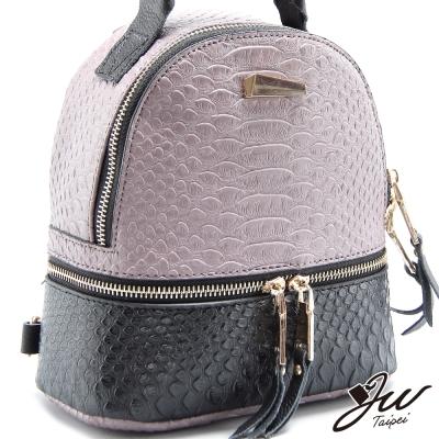 JW-後背包-派翠絲撞色迷你壓紋肩背二用後背包-共