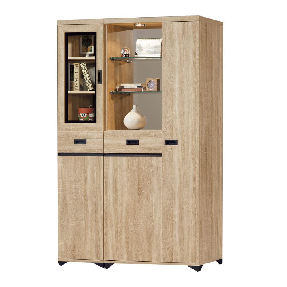 品家居  曼達4尺橡木紋雙面多功能鞋櫃/玄關櫃-118.7x39.7x189cm免組