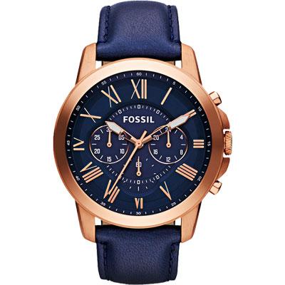 FOSSIL 旗艦玩家復刻計時腕錶-藍x玫塊金/44mm
