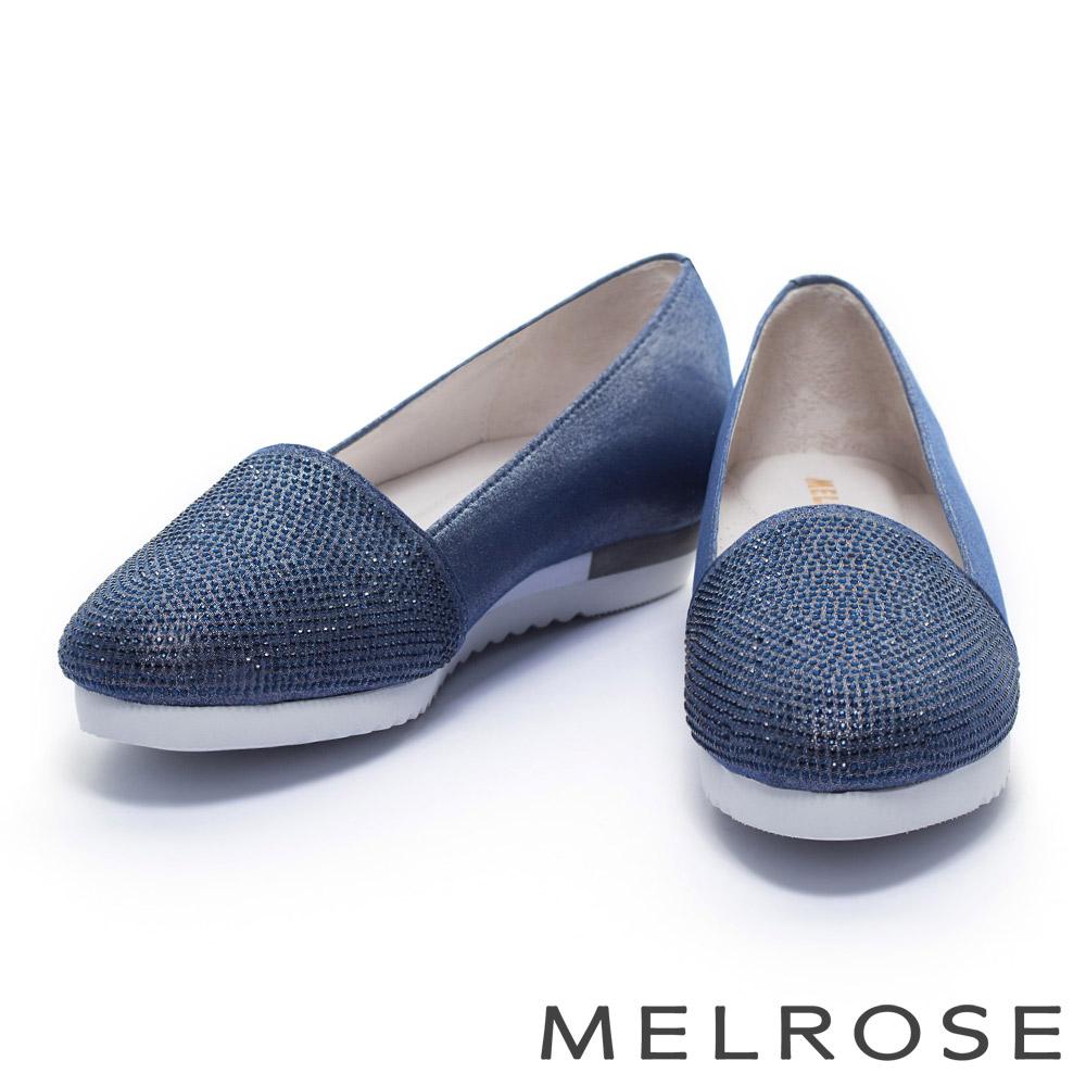 休閒鞋 MELROSE 金屬光澤晶鑽厚底休閒鞋-藍
