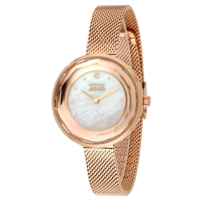NATURALLY JOJO 切割鑽石復古米蘭手錶-白色x玫瑰金/34mm