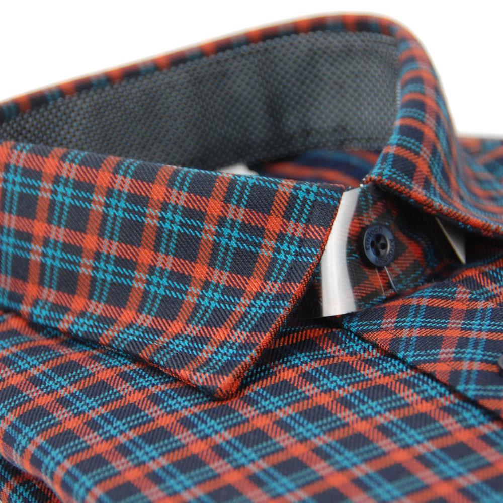 金‧安德森 藍橘格紋保暖長袖襯衫