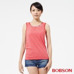 BOBSON  女款手縫鑽飾橫條背心