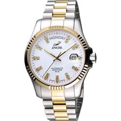 ENICAR 英納格 自動系列璀燦晶鑽機械腕錶-白x雙色版/40mm
