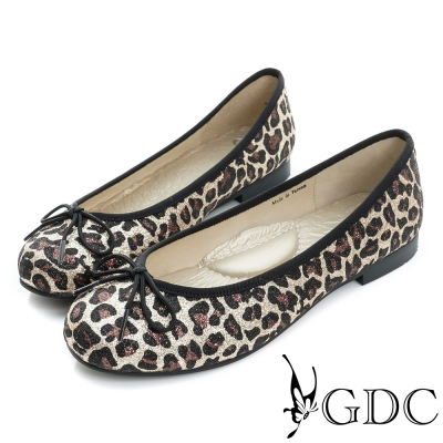 GDC-優雅閃料蝴蝶結圓頭平底娃娃鞋-金色