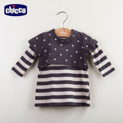 chicco條紋兩件式洋裝-灰(12m-24m)