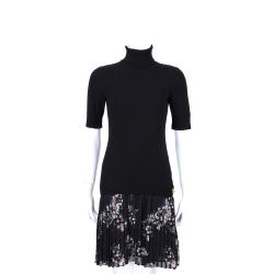 CLASS roberto cavalli 黑色拼接碎花百摺短袖高領洋裝