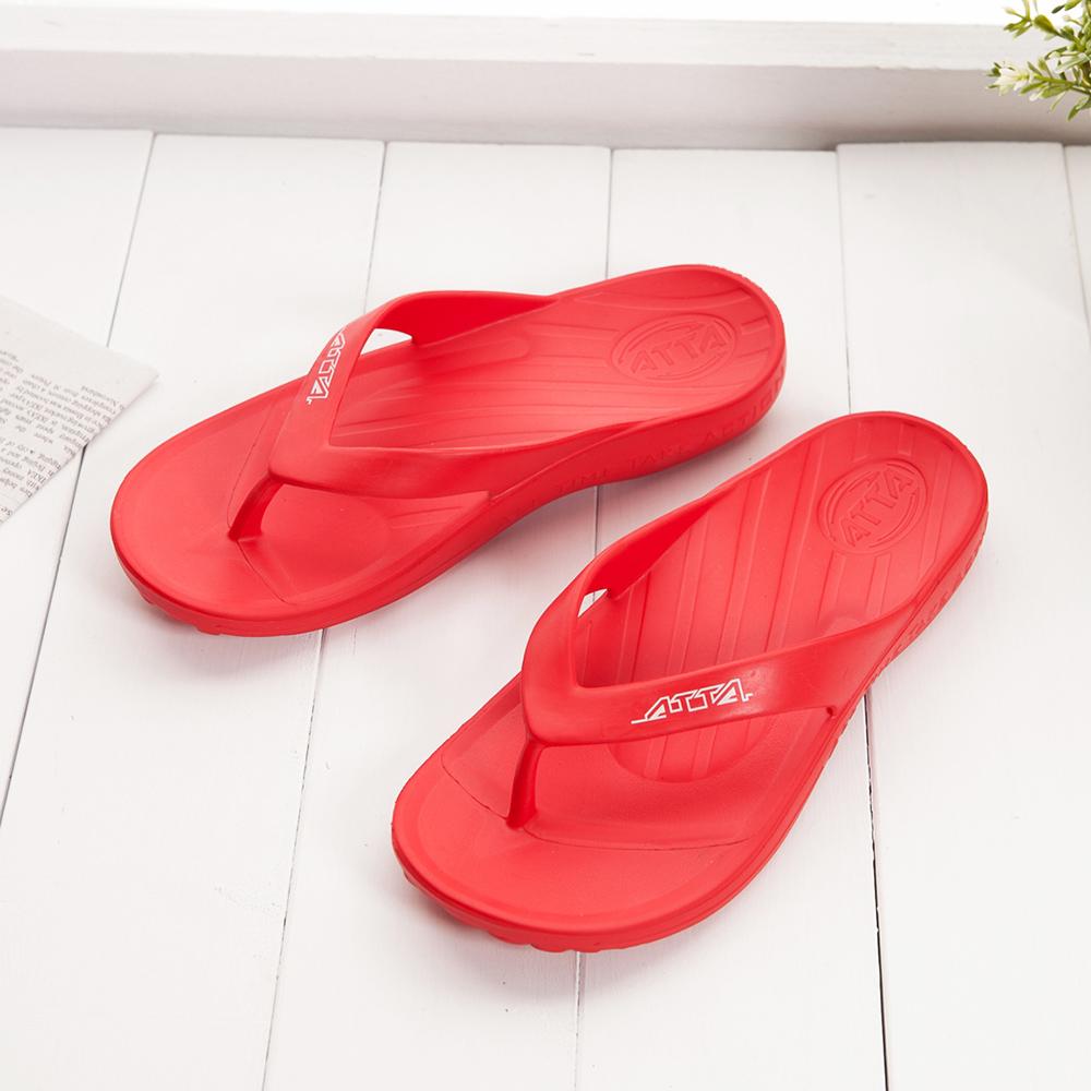 ATTA運動風簡約夾腳拖鞋-亮紅色