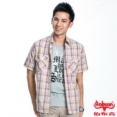 BOBSON 男款格紋短袖襯衫(黃格62)