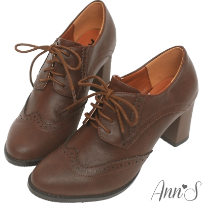 Ann'S英倫甜心-綁帶牛津雕花粗跟踝靴-咖