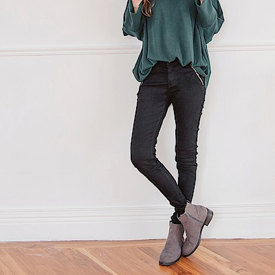 高含棉低腰拉鍊裝飾窄管褲-OB嚴選