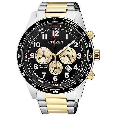CITIZEN星辰 強勢重磅視距儀三眼石英腕錶 (AN8164-51E)- 黑/44mm