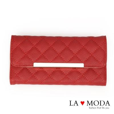 La Moda 經典小香風菱格紋車線多用途大容量長夾(紅)