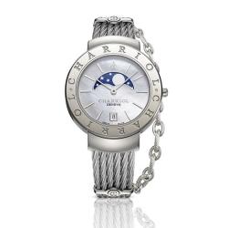 CHARRIOL 夏利豪 時尚月相鎖鍊錶-(白貝面不鏽鋼)-35mm