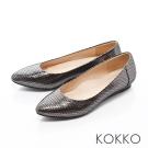 KOKKO -優雅尖頭幾何壓紋真皮楔型鞋 - 光感銀