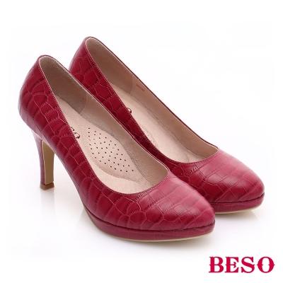 BESO-極簡風格-壓紋牛皮簡約尖楦高跟鞋-桃粉紅