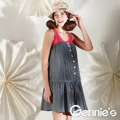 Gennie-s奇妮-細肩背心綁腰棉質孕婦洋裝-灰-G2102