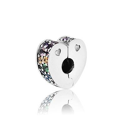 Pandora 潘朵拉 多色鋯石心型夾釦式扁珠 純銀墜飾 串珠