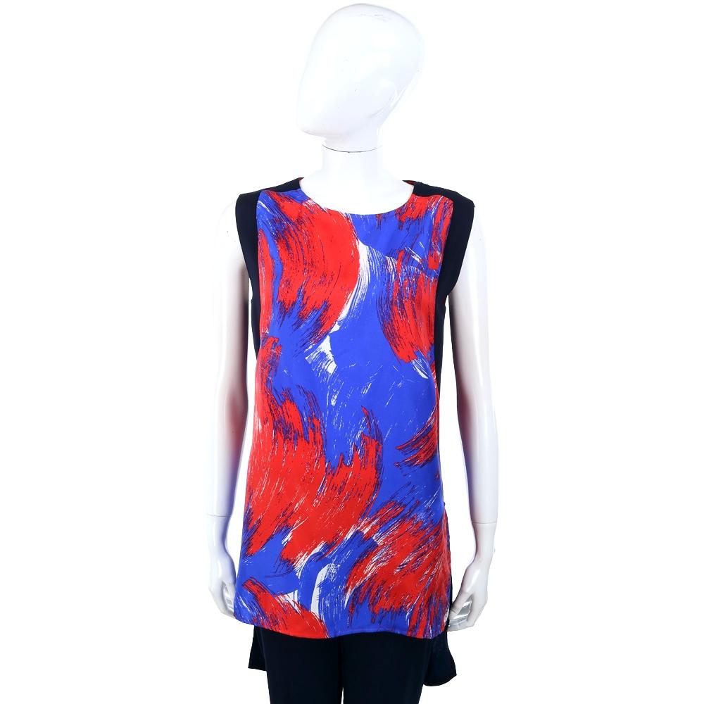 Max Mara-SPORTMAX 紅/藍色手繪拼接設計無袖上衣