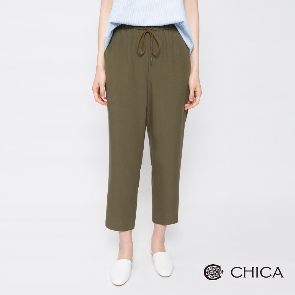 CHICA 漫遊時尚純色抽繩鬆緊哈倫褲(2色)