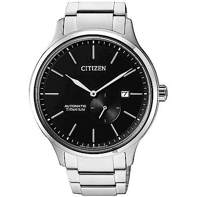 CITIZEN星辰 爵士鈦金屬機械錶-黑x銀/42mm @ Y!購物