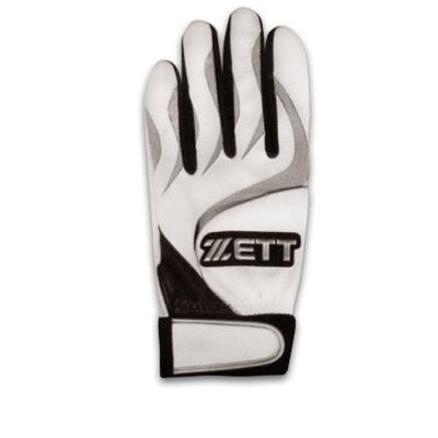 ZETT 高級皮革打擊手套 BBGT-366(白灰)